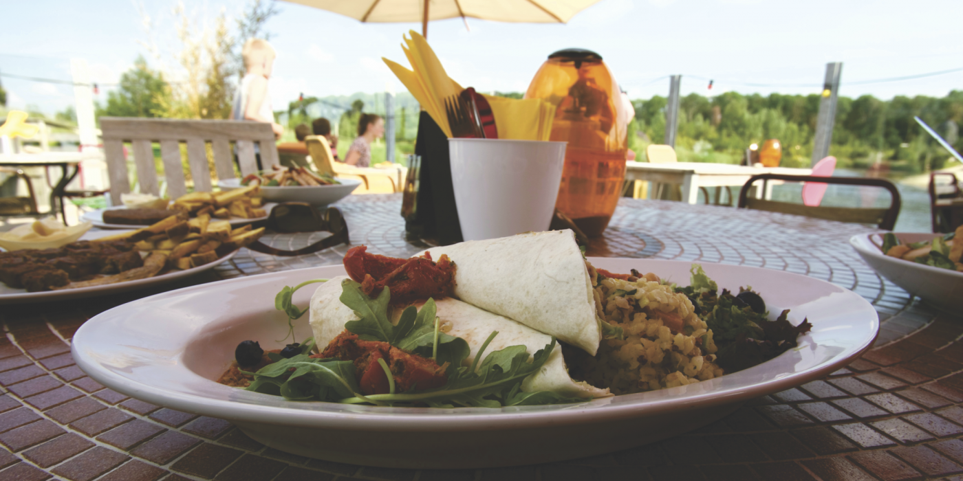 Delicious food plate at outdoor dining
