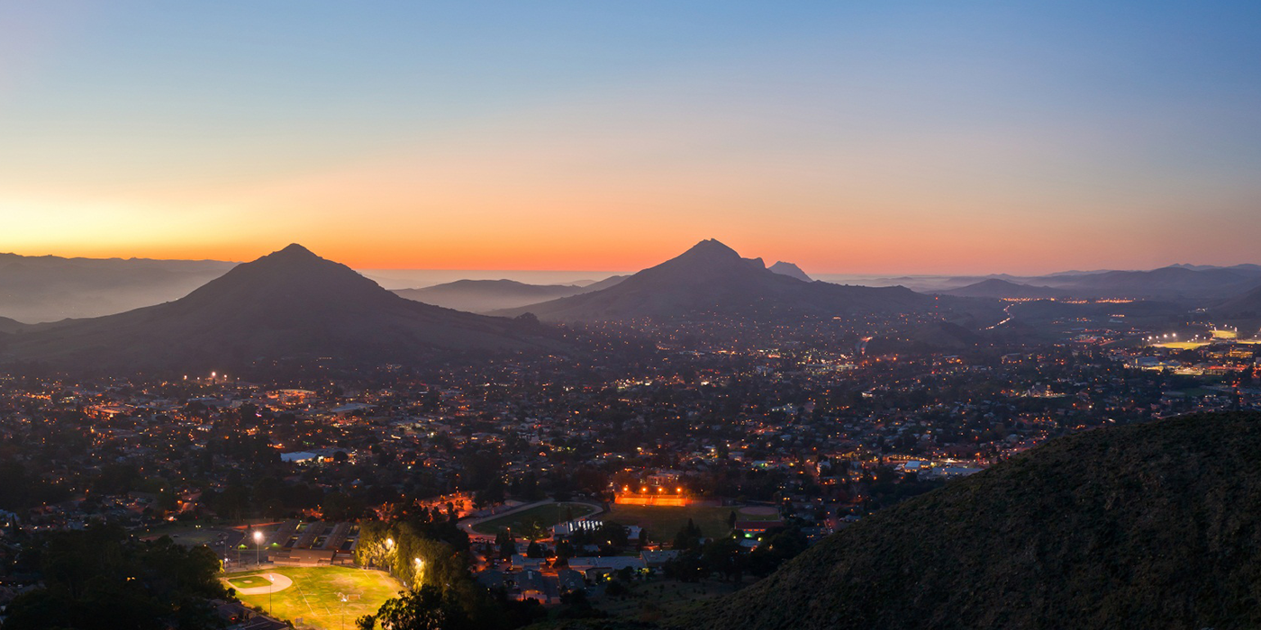 View of Cal Poly Lights at Sunset