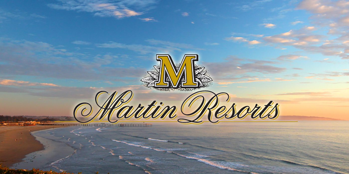 Martin Resorts Logo over Pismo Beach Sunset Sky