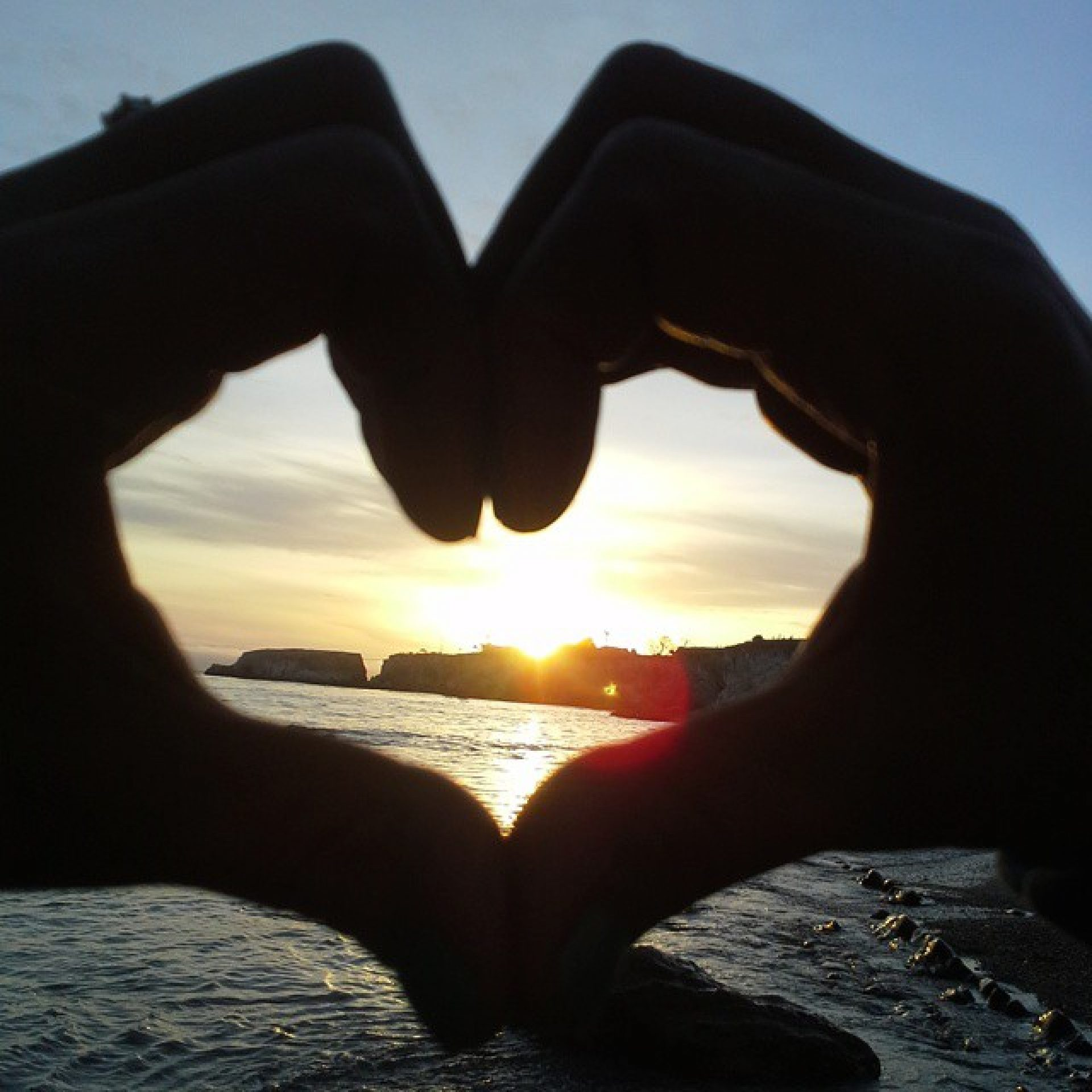Heart Hands Silhouette at Central Coast Sunset
