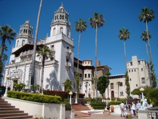 Magnificent exterior view of Hearst Castle on Central California Coast