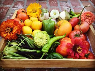 Colorful fruits and vegetables from farmers market